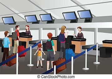 forro, aeropuerto, mostrador, recepción, arriba