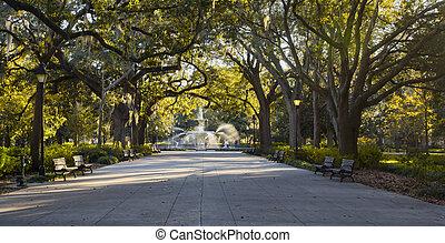 forsyth, parque, fuente, ga, sabana