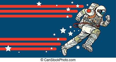 forward., astronauta, estrellas, universo, corre
