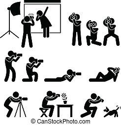 fotógrafo, cámara, paparazzi