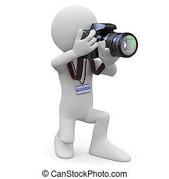 fotógrafo, el suyo, cámara, slr
