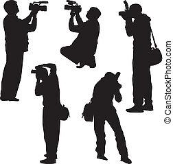 fotógrafo, vector, silueta