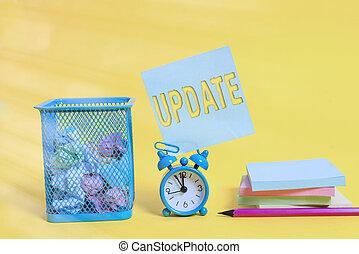 foto, actuación, su, empresa / negocio, cambiar, fondo., escritura, algo, alarma, update., reloj, moderno, añadir, coloreado, pelotas, marca, nuevo, contenedor, showcasing, más, nota, diseño, hechos, papel, lápiz, almohadillas