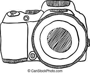 foto, bosquejo, cámara, dibujado, mano