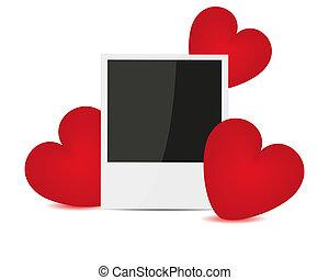 Foto y corazones rojos