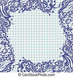 Fotografía floral de Ballpen en papel de notas de la escuela
