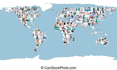 Fotos de médicos formando un mapa mundial