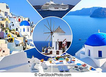 Fotos de verano en la isla de Santorini, Grecia