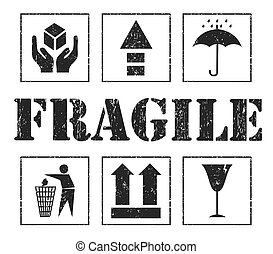 frágil, vector, seguridad, gris, signs.