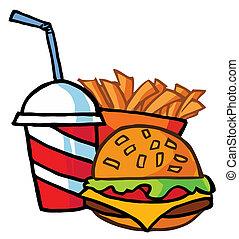 fríe, hamburguesa, francés, bebida