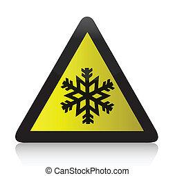 frío, advertencia, triangular, señal