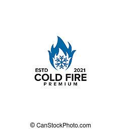 frío, logotipo, diseño, fuego, plantilla