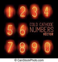 Fríos números de pantalla retro