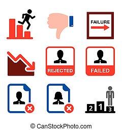 fracaso, quiebra, rechazado, conjunto, hombre, iconos del negocio, vector, falle