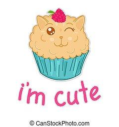 frambuesa, gato, vector, dulce, aislado, carácter, ilustración, divertido, mollete, caricatura, editable, lindo, kawaii