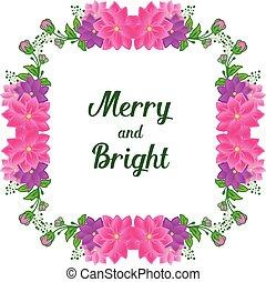 frame., bosquejo, su, espacio, texto, alegre, colorido, flor, vector, brillante