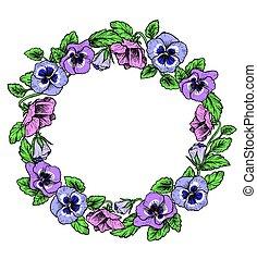 Frame de flores botánicas antiguas. Violet, corona de flores.