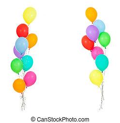 Frame de globos coloridos aislados en blanco