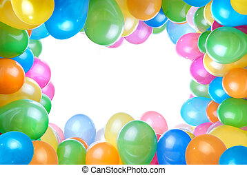 Frame de globos de color aislados en blanco