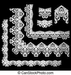 Frame Elementos establecidos - diferentes bordes de encaje y fronteras - sin costura