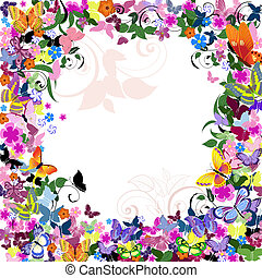 Frame floral con mariposas