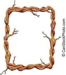Frame hecha de tronco de árbol y rama