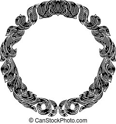 Frame laurel filigree crest floral motif