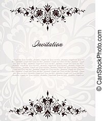 frame., vendimia, ilustración, vector, plano de fondo, floral