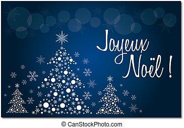 francés, navidad, alegre, azul