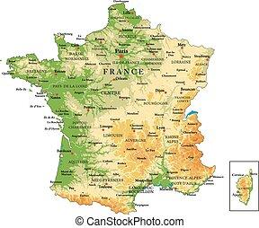 francia, físico, mapa