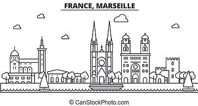 Francia, línea de arquitectura de Marsella ilustración en el horizonte. Vector lineal Cityscape con puntos de referencia famosos, vistas de la ciudad, iconos de diseño. Landscape wtih derrames editables
