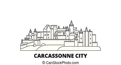 Francia, línea de viaje de la ciudad carcassonne fijada. Francia, Ciudad de Carcassonne delinea la ilustración del vector de la ciudad, símbolo, lugares de viaje, puntos de referencia.