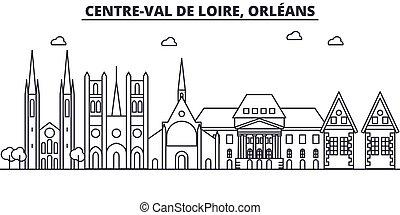 Francia, la línea de arquitectura de Orleáns ilustra la ilustración. Vector lineal Cityscape con puntos de referencia famosos, vistas de la ciudad, iconos de diseño. Edición de golpes