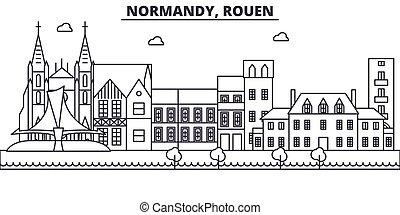 Francia, la línea de arquitectura de Rouen ilustración en el horizonte. Vector lineal Cityscape con puntos de referencia famosos, vistas de la ciudad, iconos de diseño. Landscape wtih derrames editables