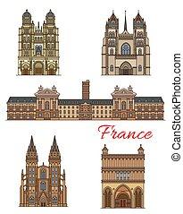 Francia marca vectores de viaje edificios de iconos