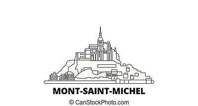 Francia, Mont Saint Michel y su línea de viaje en línea aérea fijada. Francia, Mont Saint Michel y su bahía ilustración de vectores de la ciudad, símbolo, puntos de viaje, puntos de referencia.