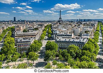 francia, parís, vista, aéreo, cityscape