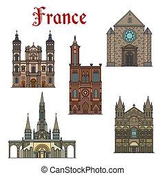 Francia viaja lugares de interés en vectores de edificios de iconos