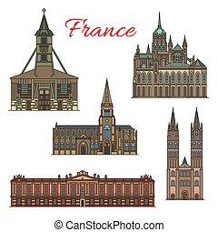Francia viaja puntos de referencia vector de edificios de fachada