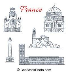 Francia viaja puntos de referencia vector iconos