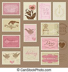 franqueo, -, diseño, invitación, sellos, retro, boda, álbum de recortes, felicitación