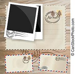 franqueo, eps10, postal, vendimia, diseños, sobre, vector, stamps.