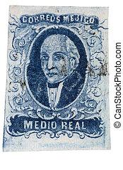franqueo, méxico, estampilla, -, 1856, miguel, hidalgo, primero