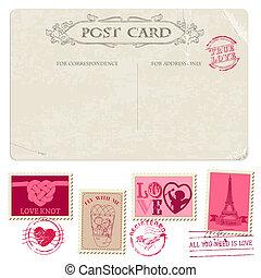 franqueo, postal, vendimia, -, diseño, invitación, sellos, boda, álbum de recortes, felicitación