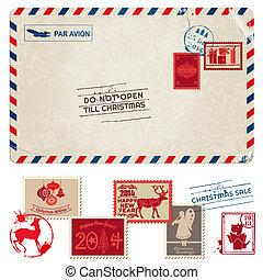 franqueo, postal, vendimia, -, navidad, sellos, vector, álbum de recortes, diseño