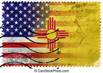 franqueo, viejo, estados unidos de américa, méxico, estampilla, -, bandera del estado, nuevo