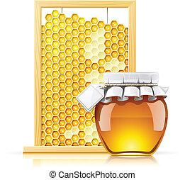 frasco miel, panal