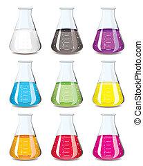 frasco, química, colección