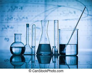 frasco, tabla, grupo, laboratorio