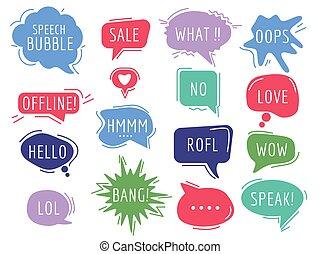 frase, handdrawn, tags., burbujas, texto, caricatura, comunicación, discurso, humor, sonido, globos, vector